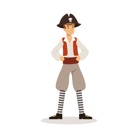 dangerous man: Brave pirate sailor character vector Illustration