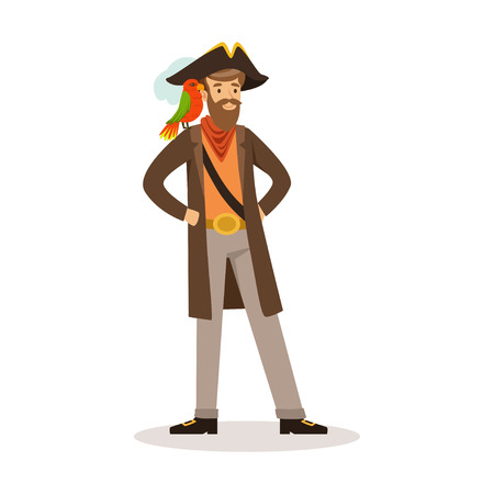 Pirate sailor character with a parrot on his shoulder vector Illustration