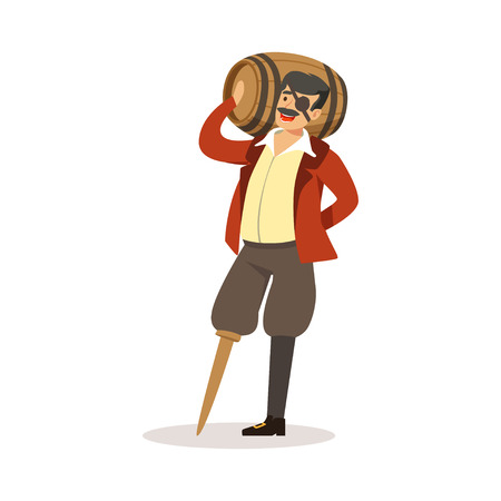 Pirate sailor character with wooden leg holding wooden barrel of rum vector Illustration