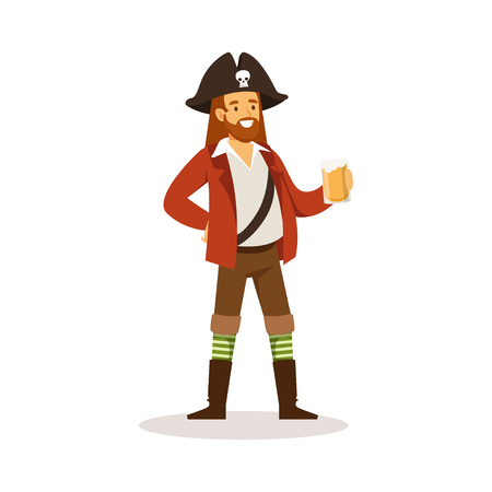 Pirate sailor character with wooden leg holding glass of rum vector Illustration