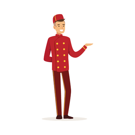 Smiling doorman character wearing red double breasted uniform, hotel staff vector Illustration