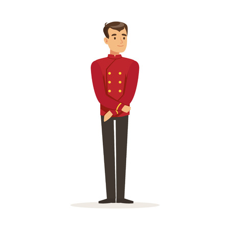 Smiling concierge or porter character wearing red double breasted uniform, hotel staff vector Illustration