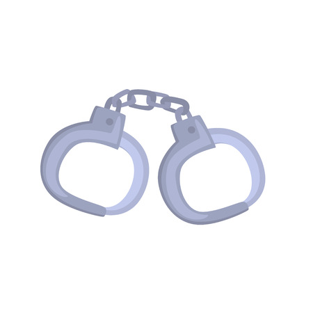 Pair of metallic handcuffs cartoon vector Illustration Çizim