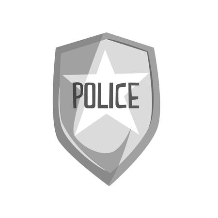 Silver police security badge cartoon vector Illustration Illustration