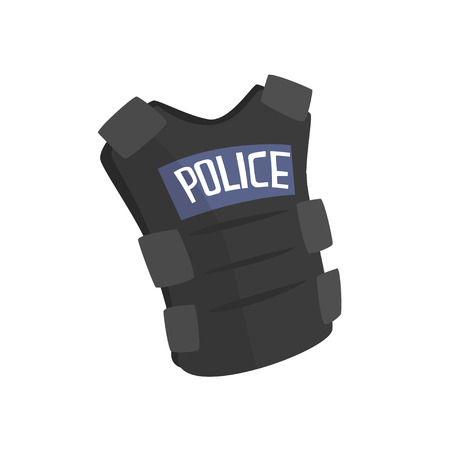 Police flak jacket or bulletproof vest cartoon vector Illustration