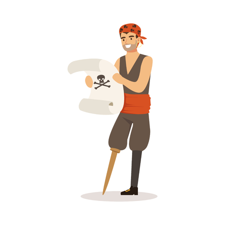 Brave pirate sailor character with wooden leg holding ancient scroll vector Illustration