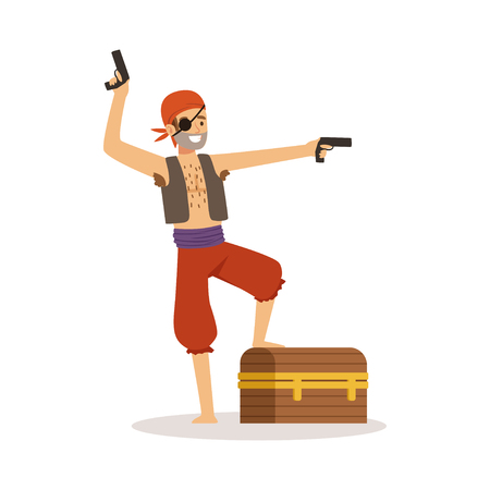 Brave pirate character with pistols and chest vector Illustration