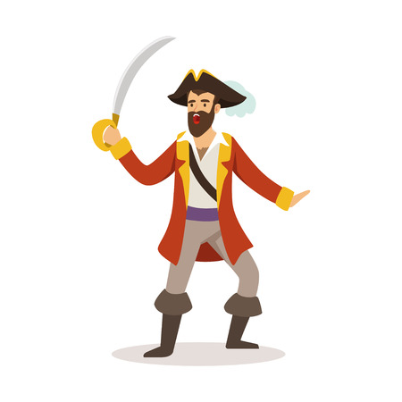 Brave pirate sailor character with sabre vector Illustration