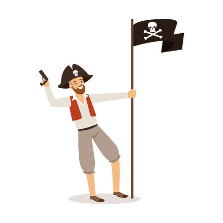 Brave pirate character with Jolly Roger flag vector Illustration Ilustração