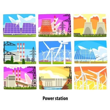 Kraftwerkset, Stromerzeugungsanlagen und bunte Vektorillustrationen der Quellen Standard-Bild - 85822221