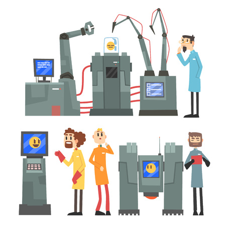 Scientists invention in robotic cybernetic engineering industry set, artificial intelligence elements vector Illustrations on a white background