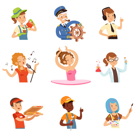 Men and women of different professions set, people avatars collection colorful vector Illustrations on a white background