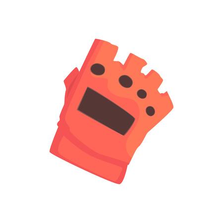 Rode sportieve beschermende handschoen cartoon vector illustratie op een witte achtergrond Stock Illustratie