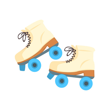 White roller blades with blue wheels cartoon vector Illustration Illustration