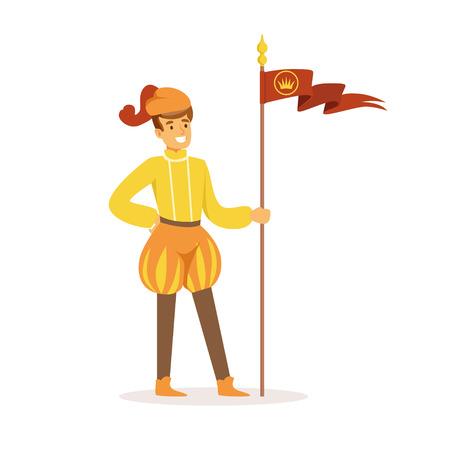 Héraut jouant de la trompette, personnage médiéval européen en costume traditionnel coloré vector Illustration sur fond blanc Banque d'images - 85822233