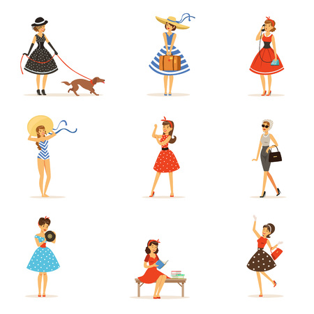 Retro girls characters set, beautiful young women wearing vintage dresses colorful vector Illustrations