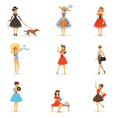 Retro meisjes tekens instellen, mooie jonge vrouwen dragen vintage jurken kleurrijke vector illustraties