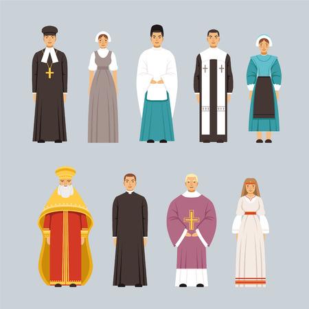 Godsdienst mensen tekens instellen, mannen en vrouwen van verschillende religieuze bekentenissen in traditionele kleding vector illustraties Stock Illustratie