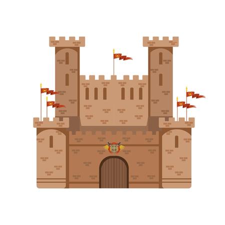 赤い旗と古代の城、中世建築の建物ベクターイラスト