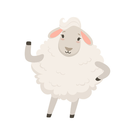 Cute white sheep character waving its hand, funny humanized animal vector Illustration on a white background