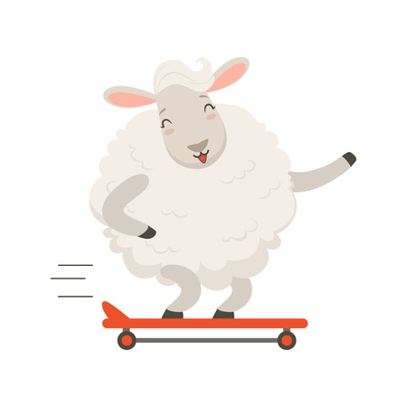 Cute white sheep character riding a skateboard, funny animal vector Illustration on a white background Çizim