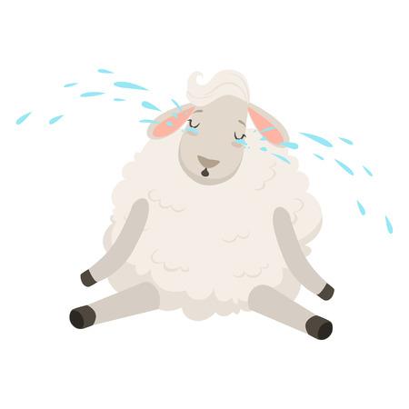 Cute sad white sheep character crying. Illustration
