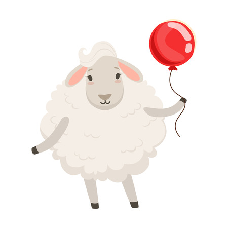 Cute white sheep character standing with red balloon. Çizim
