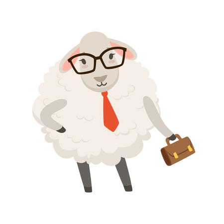 Cute businessman sheep character wearing glasses and holding a briefcase Illustration