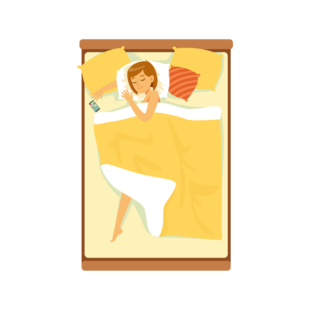 Beautiful woman sleeping in her bed, relaxing person vector Illustration on a white background