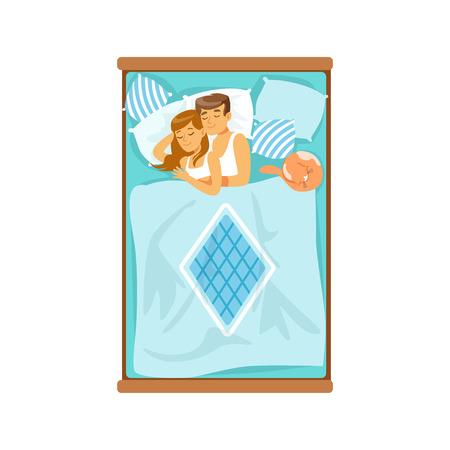 Abbracciando le giovani coppie che dormono sul letto, rilassando l'illustrazione di vettore della donna e dell'uomo Archivio Fotografico - 86098796