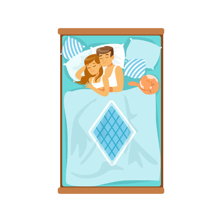 lying in bed: Embracing young couple sleeping on the bed, relaxing man and woman vector Illustration