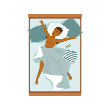 Young african man sleeping in his bed, relaxing person vector Illustration on a white background