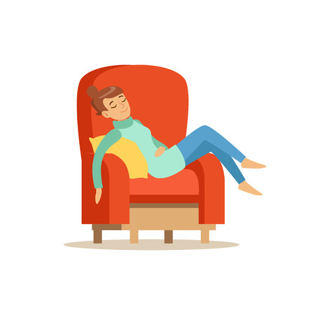 Young woman sleeping on red armchair, relaxing person vector Illustration on a white background