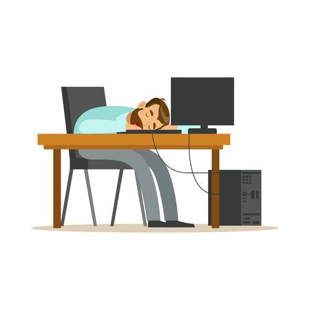 Uomo d'affari stanco che dorme nel luogo di lavoro sulla tastiera del computer portatile, illustrazione di rilassamento di vettore esaurita dell'impiegato di concetto su un fondo bianco Archivio Fotografico - 86098801