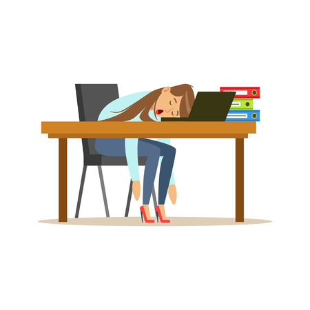Tired businesswoman sleeping on the desk with laptop, exhausted office worker relaxing vector Illustration on a white background Çizim