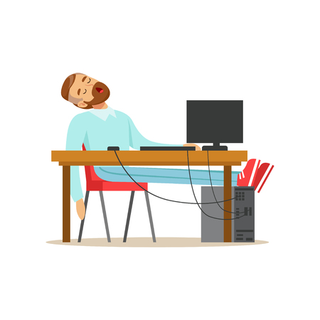 Tired businessman sleeping on his chair in the office, exhausted office worker relaxing vector Illustration on a white background