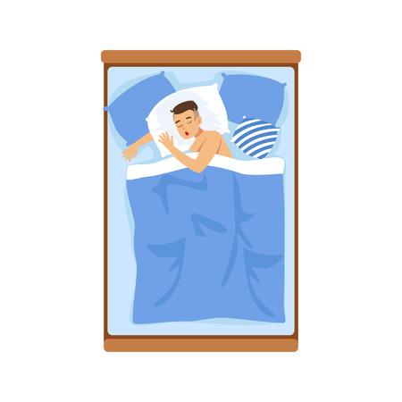 lying in bed: Young man sleeping in his bed, relaxing person vector Illustration on a white background