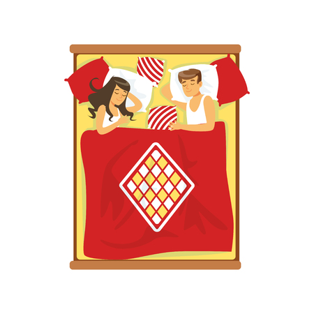 lying in bed: Young couple sleeping on the bed vector Illustration on a white background