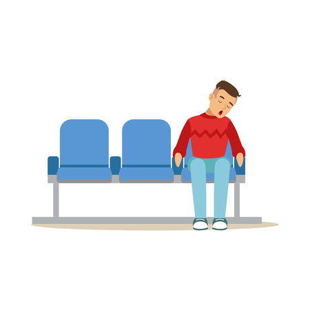 Exhausted man sleeping in the chair at airport or train station vector Illustration on a white background