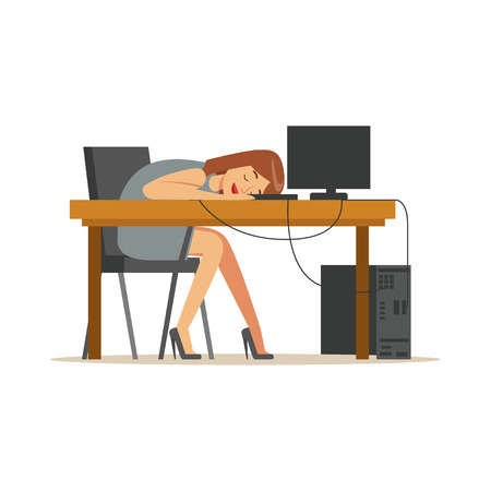 Tired businesswoman sleeping at workplace on laptop keyboard, exhausted office worker relaxing vector Illustration on a white background