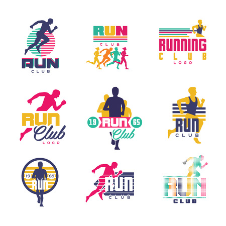 Running club logo templates set, emblems for sport organizations, tournaments and marathons colorful vector Illustrations on a white background 免版税图像 - 86098810