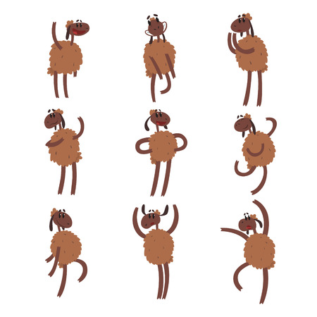 Funny cartoon sheep character set, brown sheep with different emotions colorful vector Illustrations on a white background Illustration
