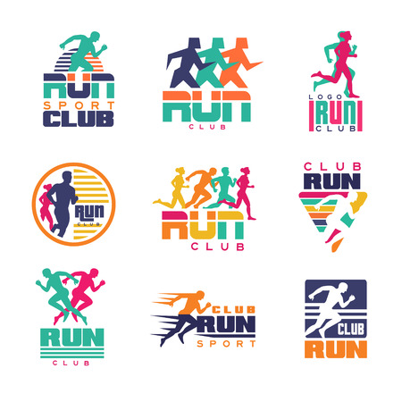 Run sport club logo templates set, emblems for sport organizations, tournaments and marathons colorful vector Illustrations on a white background Vectores
