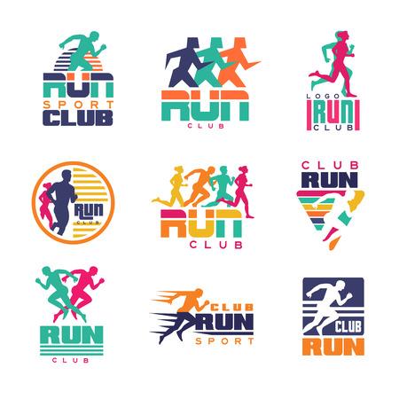 Esegui i modelli di logo del club sportivo, emblemi per le organizzazioni sportive, i tornei e le maratone colorate illustrazioni vettoriali su uno sfondo bianco