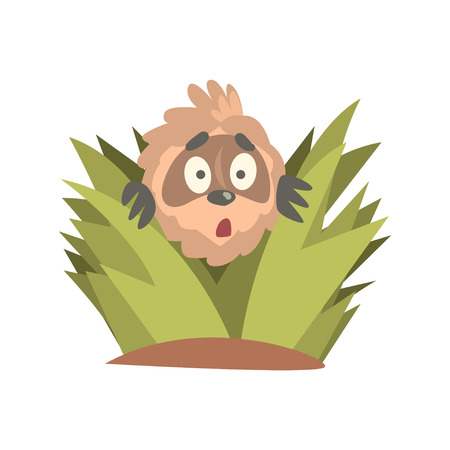 Cute cartoon astonished sloth character looking out of the bushes, funny tropical animal vector Illustration Çizim