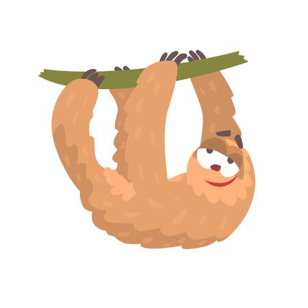나뭇 가지, 재미있는 열 대 동물 벡터 일러스트 레이 션에 걸려 귀여운 만화 나무 늘보 문자