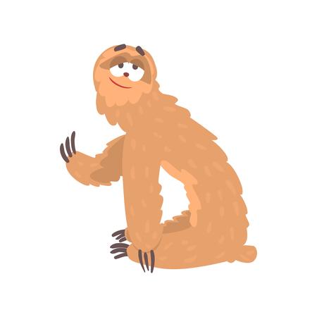 게으른 sloth 캐릭터, 재미있는 열대 동물 벡터 일러스트 웃는 귀여운 만화