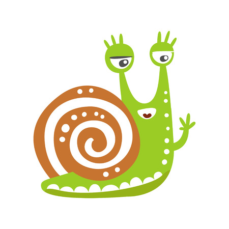Cute snail character waving its hand, funny mollusk colorful hand drawn vector Illustration