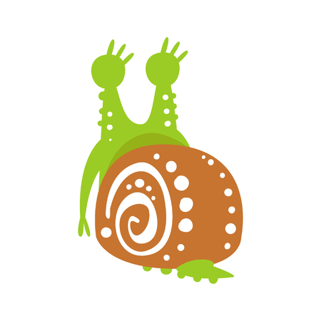 Cute snail character back view, funny mollusk colorful hand drawn vector Illustration on a white background Ilustração