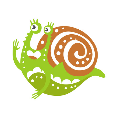 Cute snail character, funny mollusk colorful hand drawn vector Illustration on a white background Ilustração